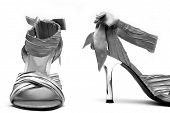 Silver high heel shoes on white background