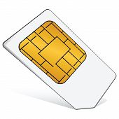 stock photo of micro-sim  - Regular SIM card for use in mobile communications - JPG