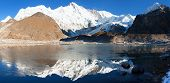 foto of cho-cho  - view of Cho Oyu mirroring in lake  - JPG