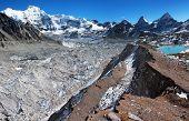 view from Cho Oyu base camp to ngozubma and gyazumba glacier - Everest trek - Nepal