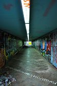 picture of underpass  - Dirty pedestrian underpass under the motorway - JPG