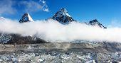view of Cholo peak and Kangchung Peak - way to Cho Oyu base camp - Nepal