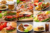 stock photo of tomato sandwich  - collage of fast food products and drinks - JPG