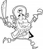 Outlined Running Pirate Holding Up A Sword And Hook