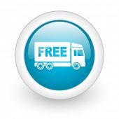 free delivery blue circle glossy web icon on white background