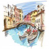 2 góndolas. Ponte del Mondo Novo, Campo Santa Maria Formosa. Venecia, Italia. Bosquejo del vector. Eps10