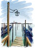 Venice. Quay Piazza San Marco. Street lamp and gondolas on the water. Vector drawing. Eps10