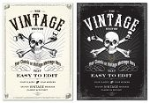 Vector Skull Frame Set. Easy to edit. All fonts are free fonts, easy to find.