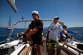 SARONIC GULF, GREECE - SEPTEMBER 24: Unidentified sailors participate in sailing regatta