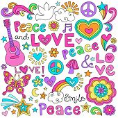stock photo of psychedelic  - Peace Love and Music Flower Power Groovy Psychedelic Notebook Doodles Set with Butterfly - JPG