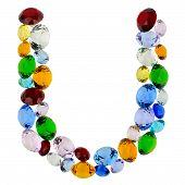 Letter U of gems