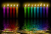 Colored Candles Happy Birthday Flooding Water