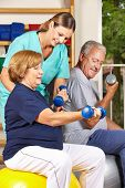 Two senior people doing dumbbell fitness training with physiotherapist