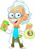 picture of albert einstein  - Vector Illustration of a Professor Mascot Holding Money Bags and Cash - JPG