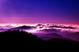 picture of smoky mountain  - high contrast evening in the great smoky mountains - JPG