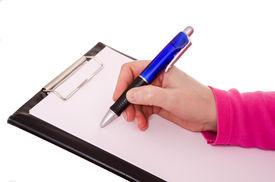 stock photo of stenography  - Female hand is writing with a ballpen on a white paper sheet - JPG