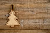 Paper Christmas Tree On Wooden Background