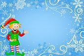 Blue Christmas Background With Elf