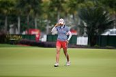 KUALA LUMPUR - OCTOBER 12: Chella Choi of South Korea reacts after putt on the 2nd hole green of the KLGCC course on Day 3 of the Sime Darby LPGA on October 12, 2013 in Kuala Lumpur, Malaysia.