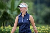 KUALA LUMPUR - OCTOBER 12: Jessica Korda of USA walks to the 2nd hole green of the KLGCC course on Day 3 of play at the Sime Darby LPGA on October 12, 2013 in Kuala Lumpur, Malaysia.