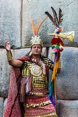 CUZCO, PERU - JULY 13: man disguised as Inca warrior  in the peruvian Andes at Cuzco Peru on july 13