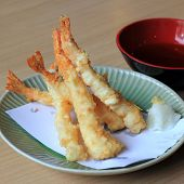Tempura Shrimps (deep Fried Shrimps) With Vegetables