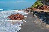 Landscape Of The Coast With A White Bird Of Varkala. India, Kerala