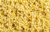 Uncooked Farfalle Pasta Background