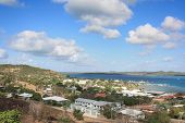 stock photo of thursday  - view from Green Fort Hill lookout on Thursday Island toward Horne Island