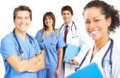 stock photo of medical doctors  - Smiling medical people with stethoscopes - JPG