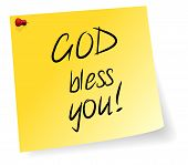 foto of blessed  - Yellow Sticky Note With God Bless You Message Vector Illustration - JPG