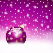 image of lilas  - lila christmas ball on the snow background - JPG