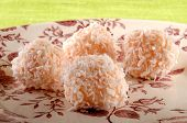 Strawberry Champagne Truffle With Coconut Flakes