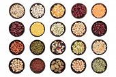 Large dried pulses selection in wooden bowls over white background.