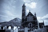 Church Of The Sacred Heart, Dunlewey With Errigal Mountains In Blue Tone