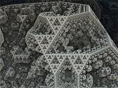 stock photo of tetrahedron  - Sierpinski tetrahedron in fantasy fractal city - JPG