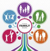 Family concept background. Abstract tree with family silhouettes.