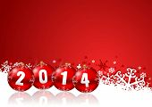 pic of new year 2014  - 2014 new years illustration with christmas balls - JPG
