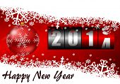 2014 new year illustration with counter and christmas ball