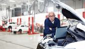 picture of grease  - Car mechanic checking engine - JPG