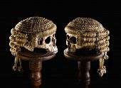 Halloween image of two skulls with judge's wigs