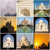 Taj Mahal collage made of nine various photos