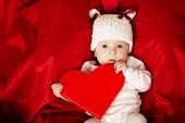cute little baby with heart
