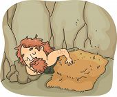 Illustration of a Caveman Soundly Sleeping Under a Wooly Blanket