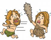 stock photo of cave woman  - Illustration of a Female Caveman Brandishing a Club While Chasing a Male Caveman - JPG
