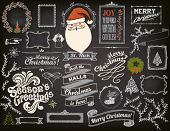 Christmas Design Elements on Chalkboard - Doodle Christmas symbols, icons, greetings and frames on blackboard, including Santa Clause