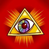 stock photo of illuminati  - Eye of Providence Cartoon Illustration Clip Art - JPG