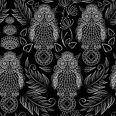 Seamless Pattern With Lace Decorative Owls