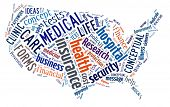 Word Cloud in the shape of the United States showing words dealing with health, medicine and insurance