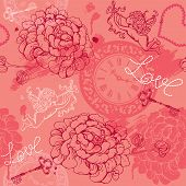Valentines Day Seamless Pattern With Hand Drawn Cupid, Flowers, Keys And Watches On Pink Background.